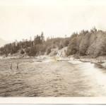 Remains of Powder Works Chimney at Tunstall Bay. ca 1940's