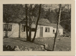 "George Adams' cottage ""Sealeigh"" at Tunstall Bay showing stone patio and rockeries in the foreground. ca. 1940's"