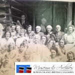 Many of the Cowen and Roger family members assembled on a verandah after Church service. ca 1945