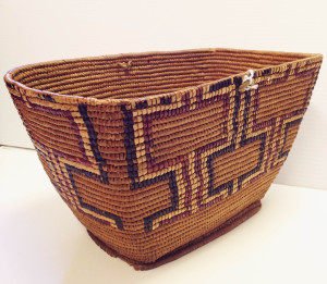 Coast Salish Basket made of cedar bark and roots. From the collection of First Nations and Bowen Island.